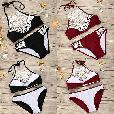 Women Push-up Bra Bandage Bikini Set Swimsuit Swimwear Bathing With Navel Ring