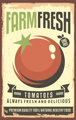 FARMERS MARKET CARROTS ART PRINT ORGANIC FOOD METAL PLAQUE RETRO TIN SIGN