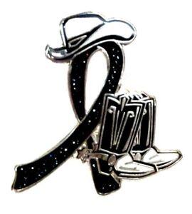 Black Ribbon Pin Western Cowboy Boots Hat Melanoma Canc