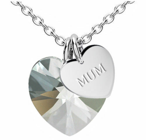 'Mum' Crystal Heart Necklace White Topaz 925 Sterling Silver Mother Daughter