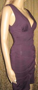 Twentyone-Size-S-P-Purple-Bandage-Sleeveless-Plunging-Neckline-Mini-Dress