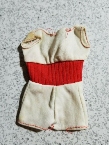 1975 Barbie Doll Outfit Barbie Free Moving White Sun Suit w Red Midriff TLC