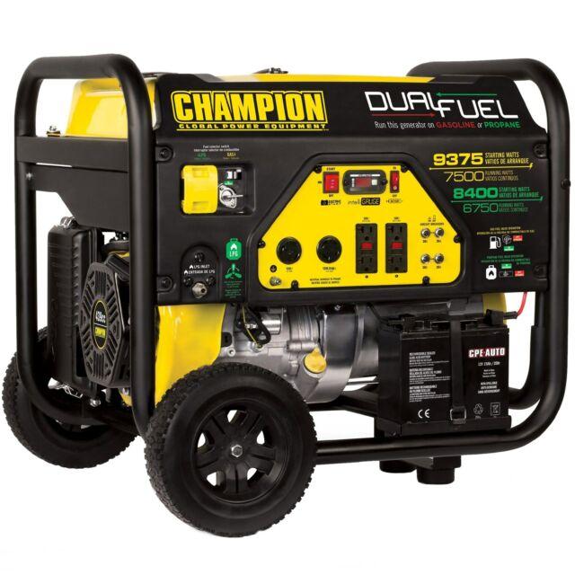 Champion 100165 - 7500 Watt Electric Start Dual Fuel Portable Generator (CARB)