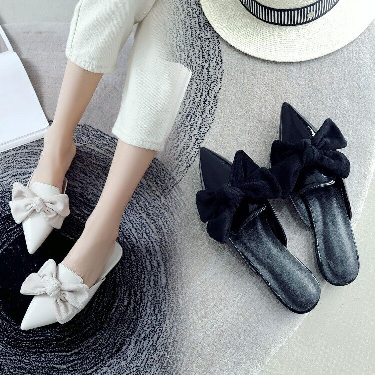 US 4.5-10.5 Women's Bows Mules Sandals Pointed Toe Pumps Casual shoes Slip On