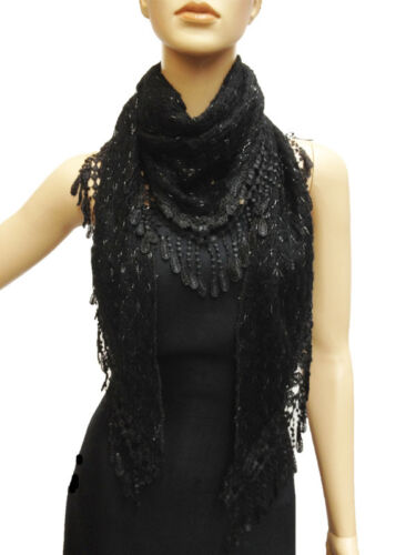 Triangle Lace Web Tassel Long Flower Wrap Scarf Fashion Style Design Teardrop