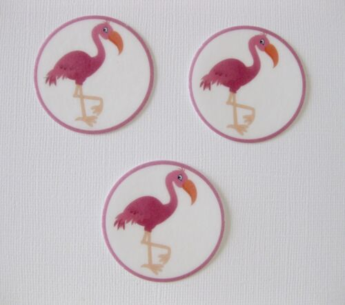 12 PRE CUT PINK FLAMINGO EDIBLE RICE WAFER PAPER CARD CUPCAKE PARTY TOPPERS