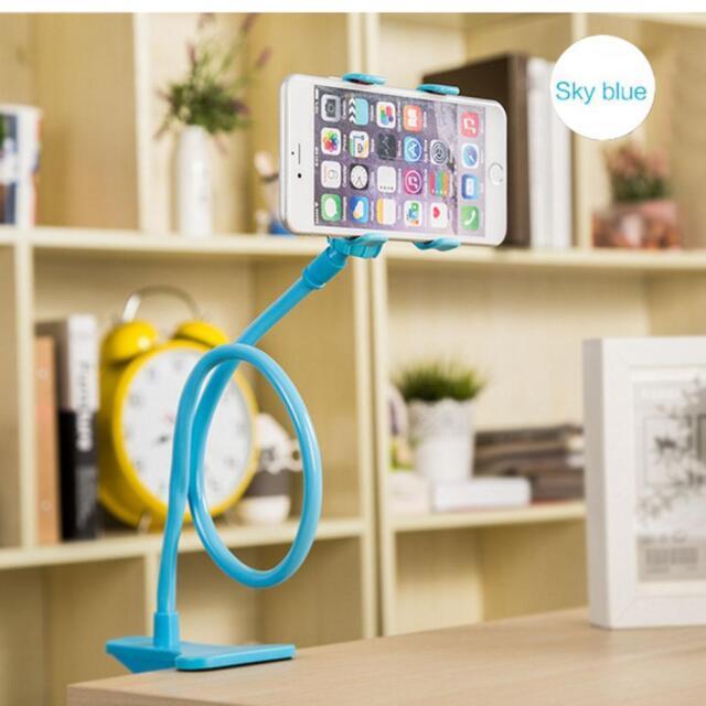 Lazy Mount Double V Clip Cell Phone Holder Flexible 360° Goose neck Sky blue PK