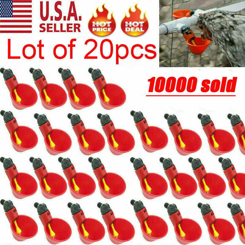 20Pcs Poultry Water Drinking Cups Chicken Quail Plastic Automatic Drinker