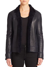 NWT HELMUT LANG GENUINE LEATHER AND SHEARLING WOMEN COAT JACKET SIZE XS $2,195