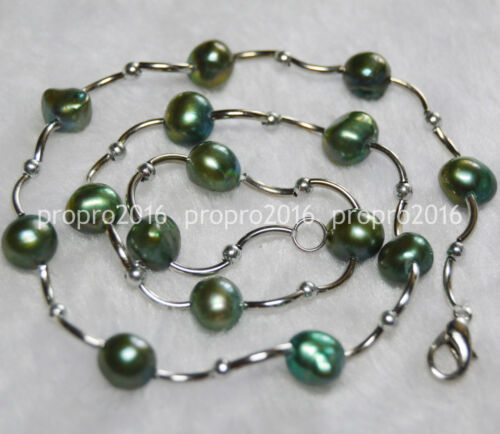 16 in environ 40.64 cm Real 8-9 mm Naturel Vert Baroque Freshwater Pearl Colliers PN904