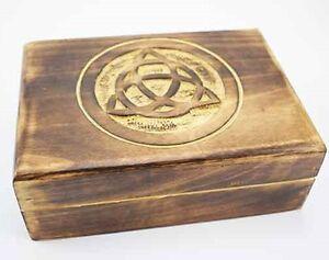 Image Is Loading CELTIC KNOT DESIGN WOOD BOX CARVED WOODEN TRINKET