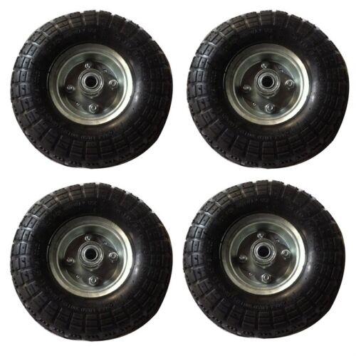 """4x10/"""" roue Chariot roues pneu rechange pneumatique trolley wheel brouette jardin"""