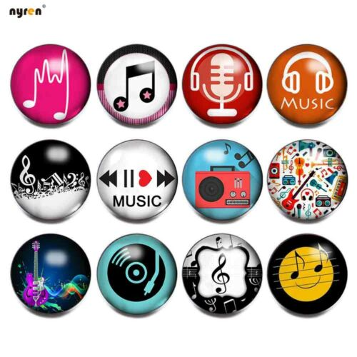 12pcs Glass Snap Charms 18mm Snap Button Love Music For Snap Jewelry KG0021