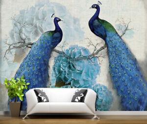 3D-Blau-Pfau-Paar-Q050-Tapete-Wandbild-Selbstklebend-Abnehmbare-Aufkleber-Su