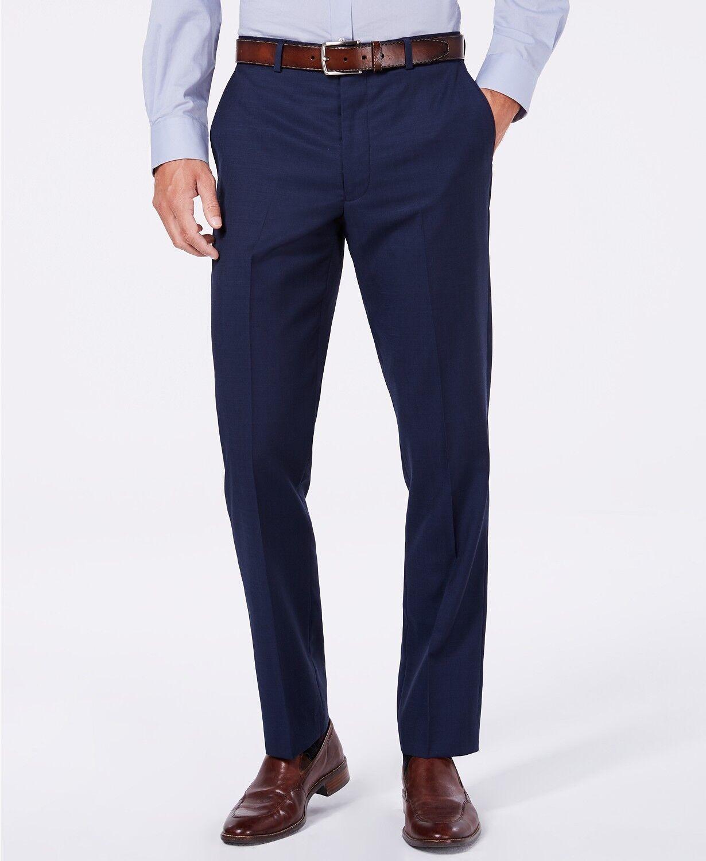 VINCE CAMUTO 33W 33L Men bluee Slim-Fit Flat-Front DRESS PANTS SUIT TROUSERS