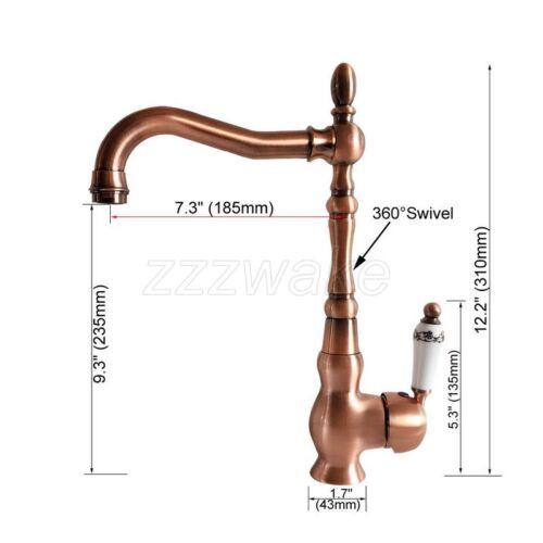 Antique Red Copper Ceramics Handles Swivel Kitchen Sink Mixer Faucet Tap znf424