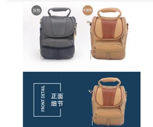 Brown-Gray-canvas-camera-bag-case-for-Panasonic-Lumix-DC-GX9-GX8-GX7-II-GH5S