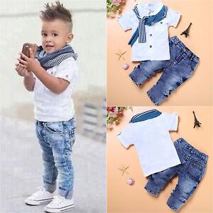 18dd3b956060 Toddler Kid Baby Boy Shirts Tops Coat Pants Outfits Set Gentleman ...