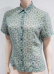 bc90f652 DRIES VAN NOTEN Pale Green Grey Cotton Abstract Print Short Sleeve ...