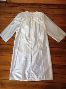"""White Graduation Academic Gown Shiny Poly 5'6"""" - 5'8"""" 54"""" Chest"""