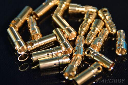 10 Paar Stecker Buchsen Vergoldet 3,5mm Modellbau Bananenstecker RC Akku