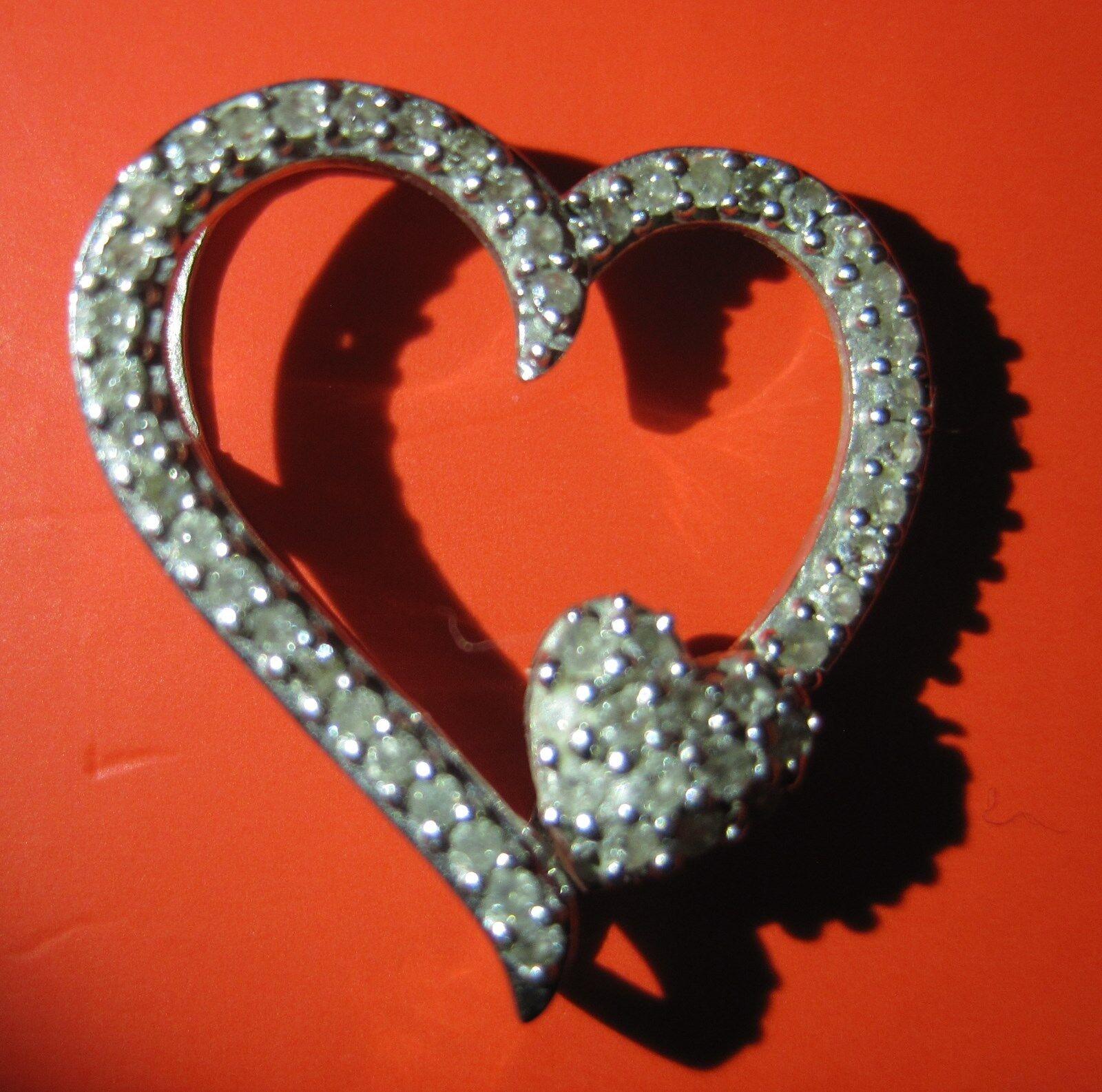 10 Karat Solid White gold 1 5 ctw Diamond Double Heart Pendant 17mmx19mm NEW USA