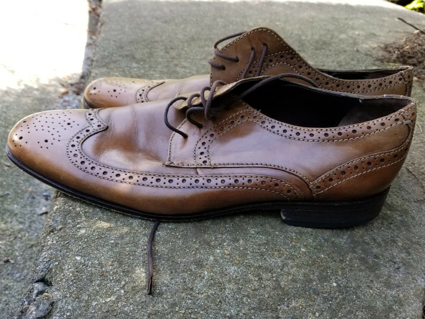 BOSTONIAN-Genuine Leather- Wingtip 12M Wingtip Leather- Dress Shoes- Brown f77fc1