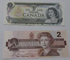 1986 CANADIAN 2 DOLLAR BILL  AND 1973 1 DOLLAR BILL