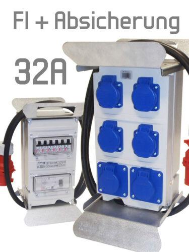 230V FI Sicherung Baustromverteiler Steckdosenverteiler Stromverteiler 32A 400V