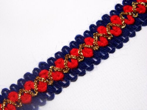 BLUE RED AND GOLD upholstery trim gimp fabric trimming 25MM T034