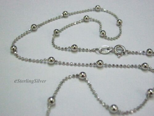 """Chain 1.2mm 17.5/"""" 925 Sterling Silver Chain // Necklace 3.5 Grams Bead 3mm"""