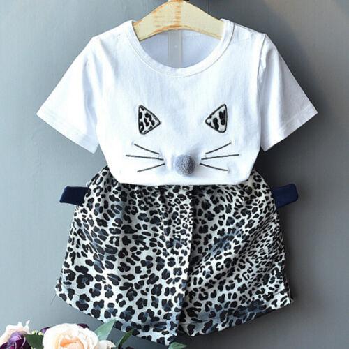 Toddler Kids Baby Girls Leopard Clothes T-shirt Top+Skirt Dress Outfits Set