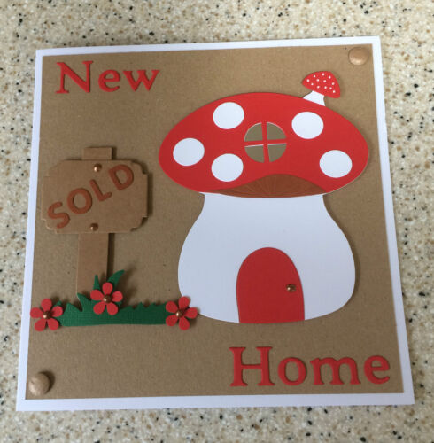 """Large Handmade New Home Moving House card cute toadstool unusual 7/"""" square"""