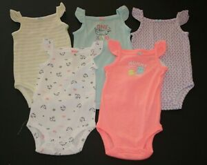 CARTER/'S 5 PACK GIRLS BODYSUITS  GREAT COLORS NWT~ BLACK WHITE ~HEARTS SUN