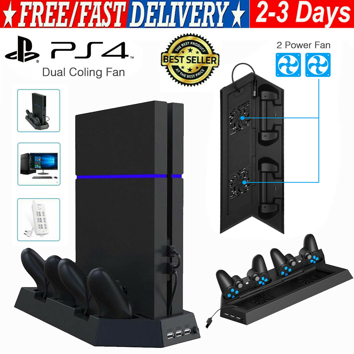 For PS4 Slim Accessories Vertical Stand Cooling Fan with Dual Charging Station