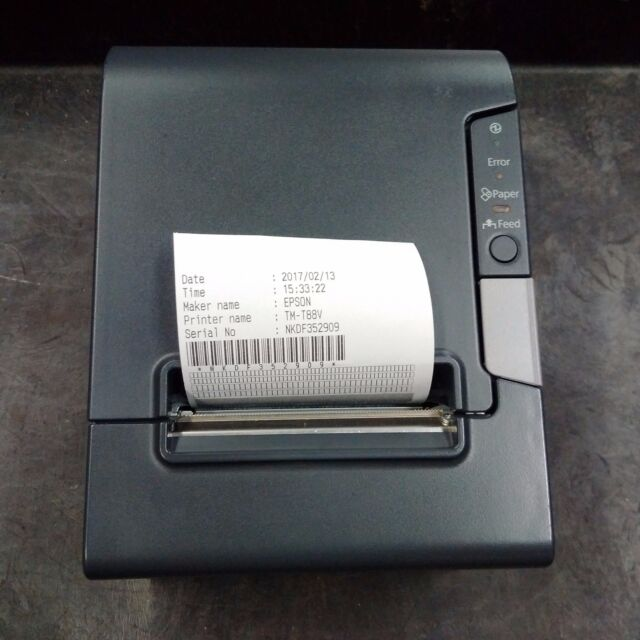 Epson TM-T88V POS Thermal Receipt Printer RS232 and USB Interface with PSU