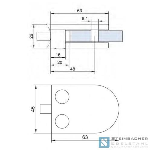 Acier Inoxydable glashalter 63 x 45mm glasklemme tôle borne borne v2a v4a