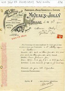 Dépt 87 - Bellac - Belle Entête Fabrique d'Eaux Gazeuses & Sirops du 24-12-1912 Gp9RJWkN-09152725-866655746