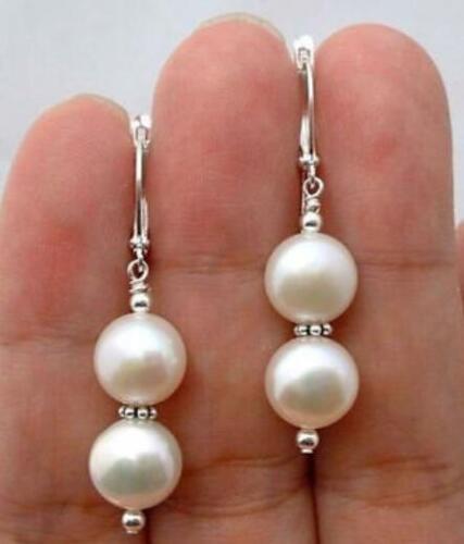 Neuf paire 10 Mm Naturel Blanc Shell Perle Tibet Argent Boucles D/'oreilles Clou