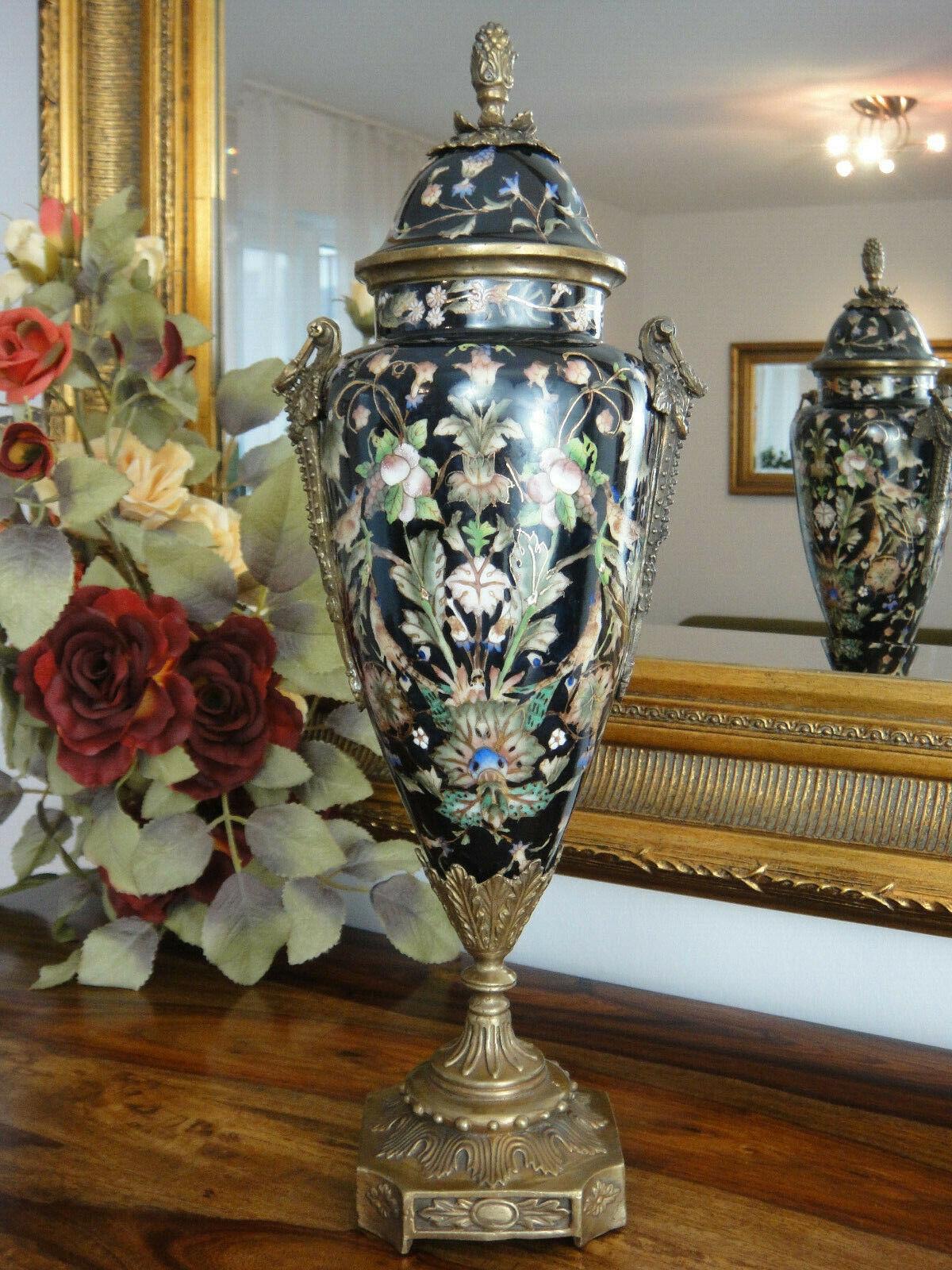 Tapa jarrón de porcelana bronce prunkvase Antik barroco de lujo jarrón urna trofeo noble