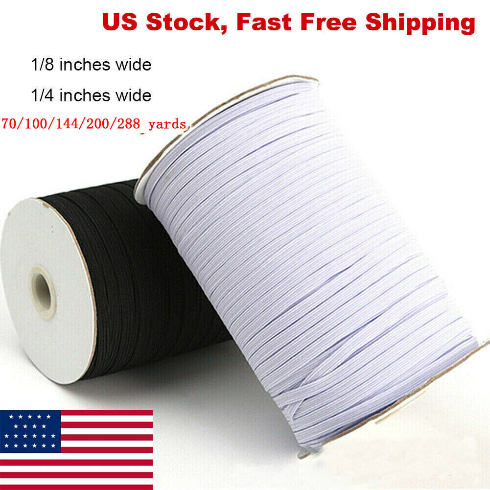 30 ft FAST SHIP FROM USA 1//4 inch White Knit Elastic 10 yards