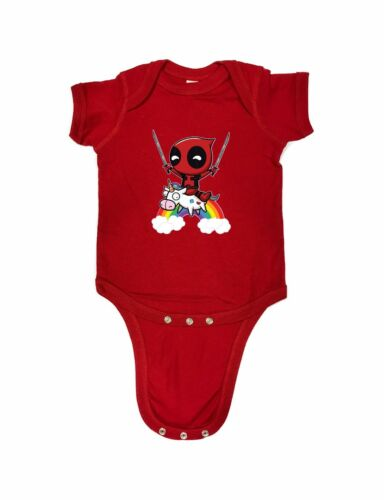 98-28 Deadpool Rainbow Wade Wilson Funny Baby Romper Bodysuits One Piece