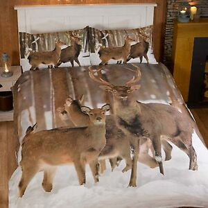 HIVER-CERF-HOUSSE-COUETTE-SIMPLE-AVEC-TAIES-D-039-OREILLERS-ANIMAL-CHAMBRE-LITERIE