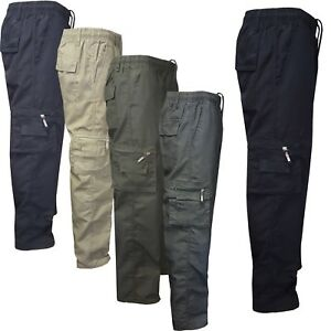31ca44206cb5 Image is loading Mens-Elasticated-Summer-Trousers-lightweight-Cargo-Combat- Shorts-