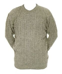Mens-L-XL-New-Crew-Neck-Beige-Grey-Mix-Jumper-Acrylic-Wool-Pullover-Sweater