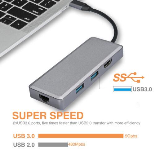 7 in 1 USB-C HUB Type-C to HDMI USB 3.0 USB 2.0 LAN Ethernet SD TF Adapter lot