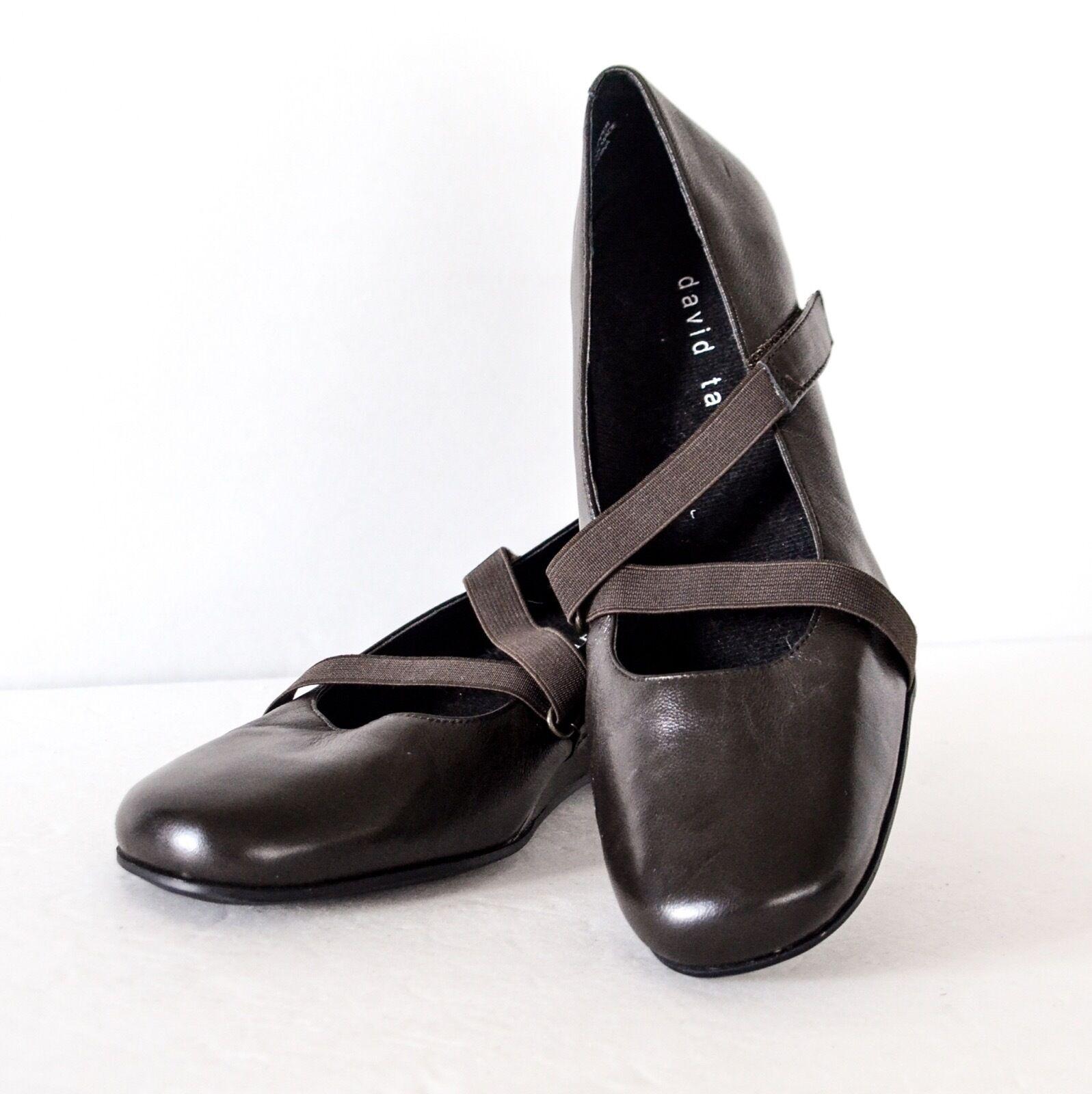 David Tate Olive Brown Leather Wedge Elastic strap closure Mary Jane shoes 9N
