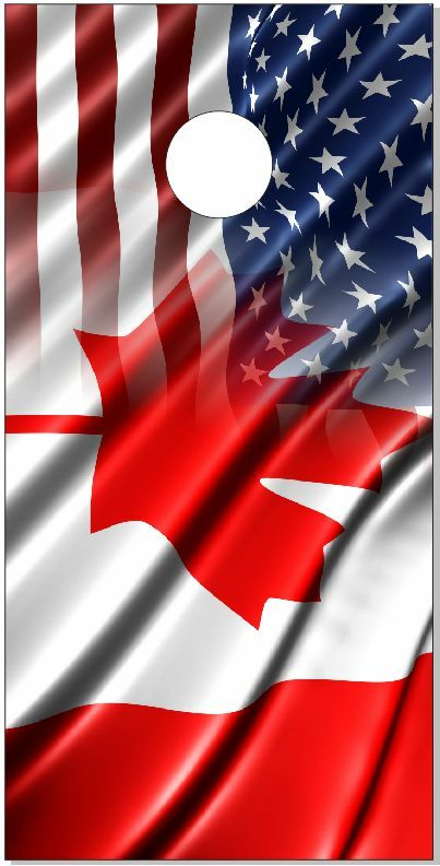 Canadian Flag Blend LAMINATED Cornhole Wrap Bag Toss  Skin Decal  save on clearance