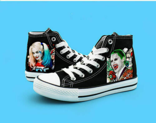 Suicide Squad Harley Quinn Joker High Canvas Shoes Casual Sneakers Couple