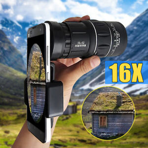16x52-Zoom-Hiking-Monocular-Telescope-Lens-Camera-HD-Scope-Hunting-Phone-Holder